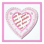 Marco atado rosa de la foto del corazón invitación 13,3 cm x 13,3cm