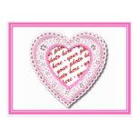 Marco atado rosa de la foto del corazón postal