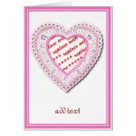Marco atado rosa de la foto del corazón tarjeta de felicitación