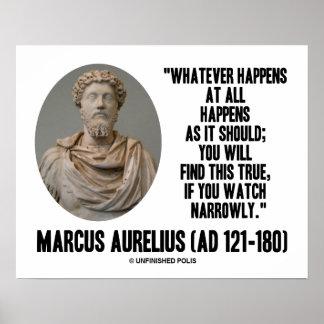 Marco Aurelius lo que sucede en absoluto sucede Impresiones