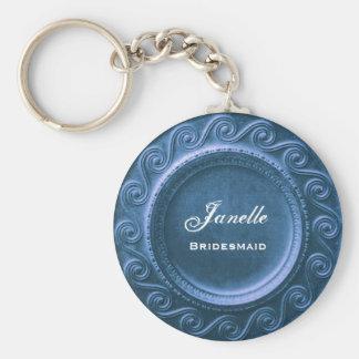 Marco azul B035 de Curlicue del favor del boda de  Llavero Redondo Tipo Pin