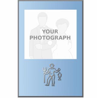 Marco azul de la foto de la plata del zodiaco del fotoescultura vertical