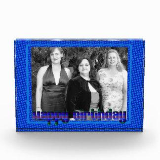 Marco azul de la foto del feliz cumpleaños