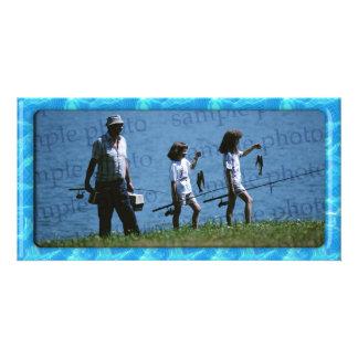 Marco azul de la foto - tarjeta de la foto tarjetas con fotos personalizadas