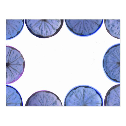 Marco azul de la rebanada del limón que brilla tarjeta postal