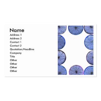 Marco azul de la rebanada del limón que brilla tarjetas de visita
