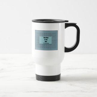 Marco azul de la teja de mosaico de la pizarra - p tazas de café