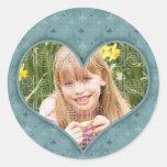 Marco azul del corazón pegatinas redondas