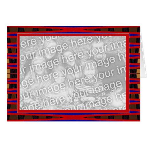 marco azul rojo de la foto tarjeta de felicitación