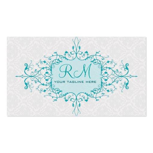 Marco azul y blanco elegante del cordón del vintag tarjetas de visita