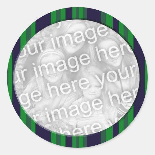 marco azul y verde de la foto pegatina redonda