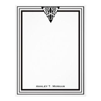 Marco blanco #1 del negro del art déco del vintage membrete personalizado