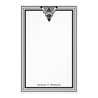 Marco blanco #1 del negro del art déco del vintage papeleria personalizada