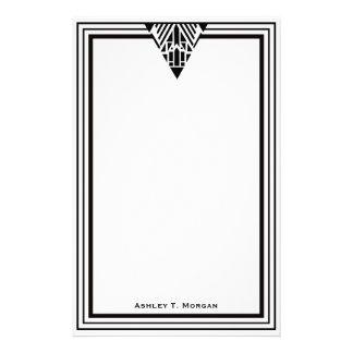 Marco blanco #1 del negro del art déco del vintage personalized stationery