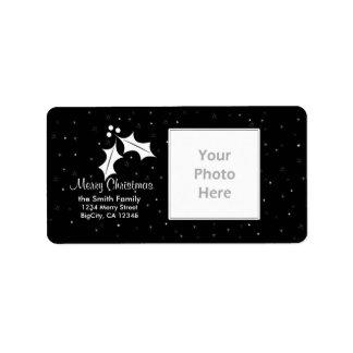 Marco blanco y negro de la foto del navidad etiqueta de dirección