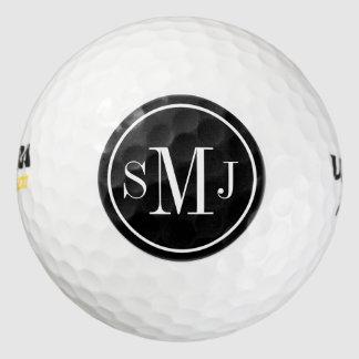 Marco blanco y negro personalizado del monograma pack de pelotas de golf