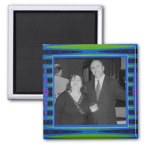 marco brillante de la foto del verde azul imán cuadrado