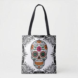 Marco colorido de Paisley del negro del cráneo del Bolsa De Tela