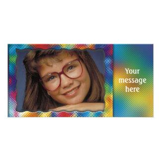 Marco colorido único de la foto con su mensaje tarjetas fotográficas personalizadas