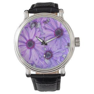 marco completo de los flores, reloj de mano
