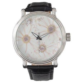 marco completo de los flores, suave relojes de pulsera