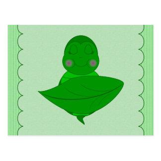 Marco con volantes de la tortuga verde el dormir c postales