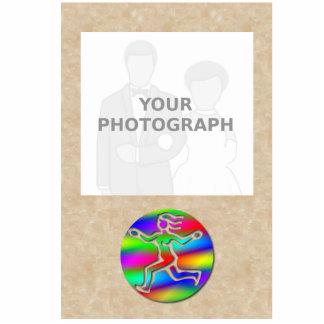 Marco corriente de la foto del chica del arco iris fotoescultura vertical