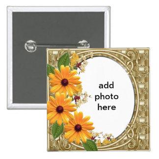 marco cuadrado de la flor del botón