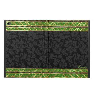 Marco Damasco-Verde y del oro floral negro de la