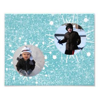 Marco de dos copos de nieve arte fotografico