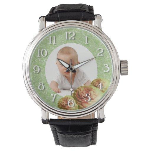 Marco de encargo de los rosas de la foto relojes de pulsera