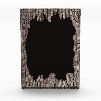 Marco de la corteza de árbol con el premio negro