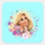 Marco de la flor de Rapunzel Calcomanías Cuadradases