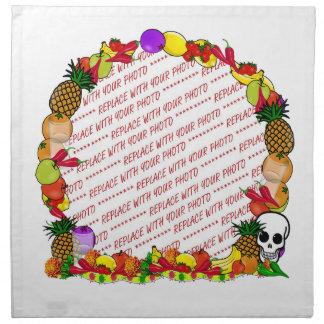 Marco de la foto de Dia De Los Muertos Fruity Servilletas Imprimidas