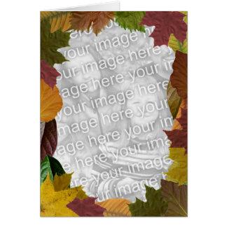 Marco de la foto de la acción de gracias de hojas tarjeta de felicitación