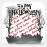 Marco de la foto de la escena de Halloween Calcomania Cuadrada Personalizada