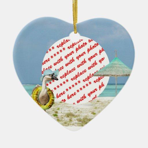 Marco de la foto de la escena de la playa del gans ornamento de navidad