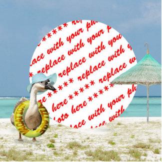 Marco de la foto de la escena de la playa del gans escultura fotográfica