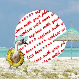 Marco de la foto de la escena de la playa del gans escultura fotografica