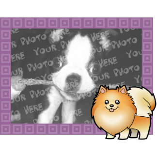 Marco de la foto de Pomeranian del dibujo animado Imán Fotoescultura