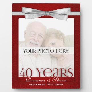 Marco de la foto del aniversario de boda del rubí  placas