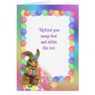 Marco de la foto del arco iris del conejito de la tarjeta de felicitación