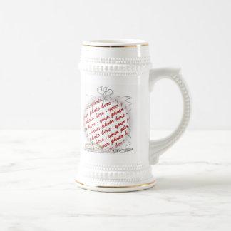 Marco de la foto del boda tazas de café