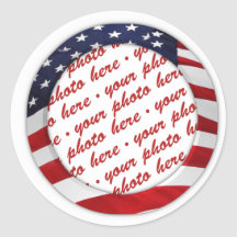 Marco de la foto del círculo de la bandera america etiqueta redonda