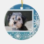 Marco de la foto del copo de nieve para el navidad ornaments para arbol de navidad