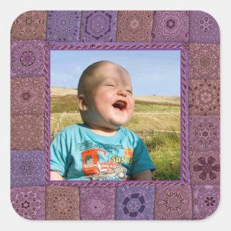 Marco de la foto del entusiasta del remiendo pegatina cuadrada
