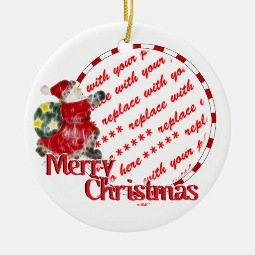 Marco de la foto del navidad adorno navideño redondo de cerámica