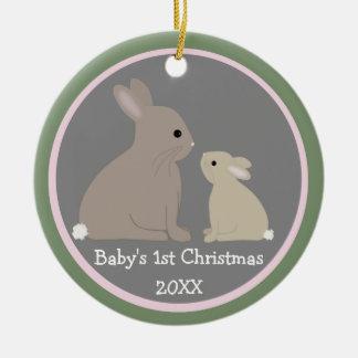 Marco de la foto del navidad del conejito del bebé adorno navideño redondo de cerámica