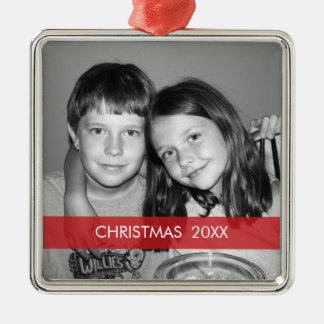 Marco de la foto del navidad - moderno adorno cuadrado plateado