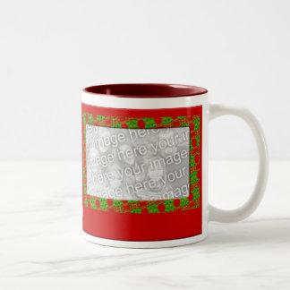 Marco de la foto del navidad tazas de café
